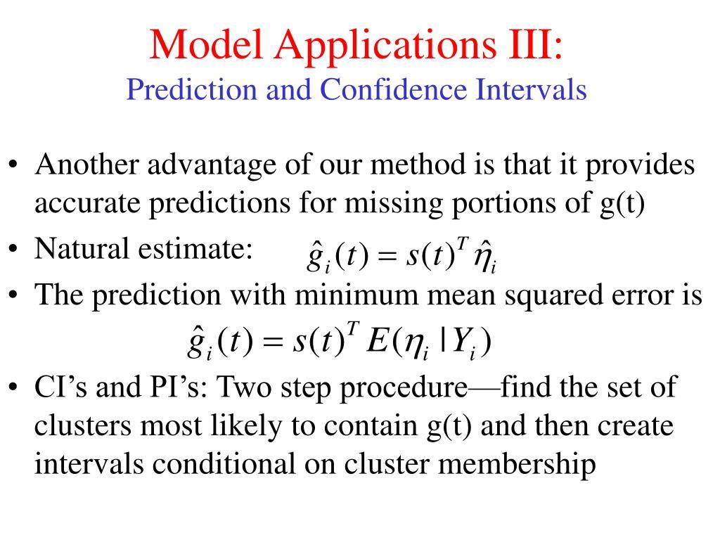 Model Applications III: