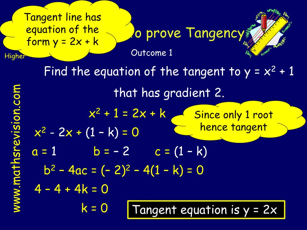 Tangent line has equation of the form y = 2x + k