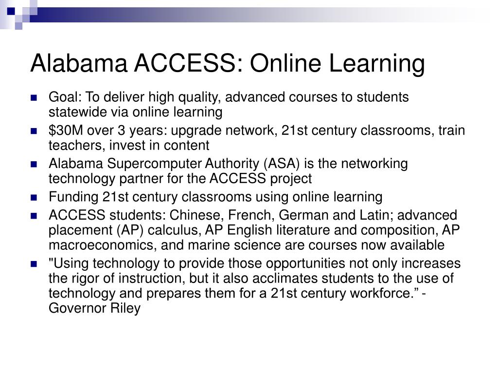 Alabama ACCESS: Online Learning
