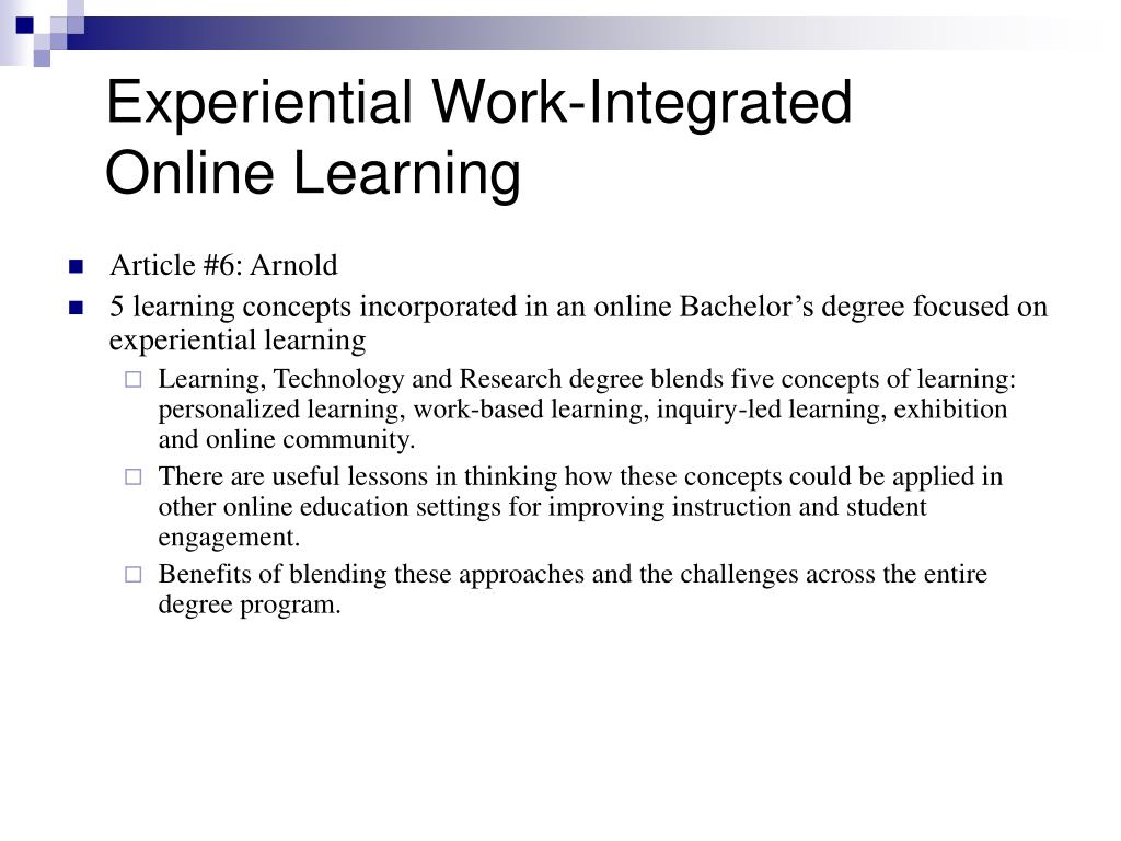 Experiential Work-Integrated Online Learning