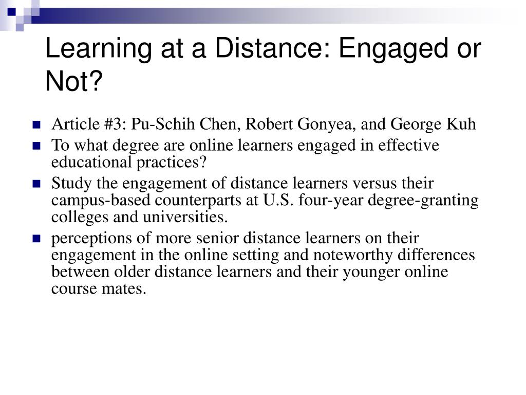 Learning at a Distance: Engaged or Not?