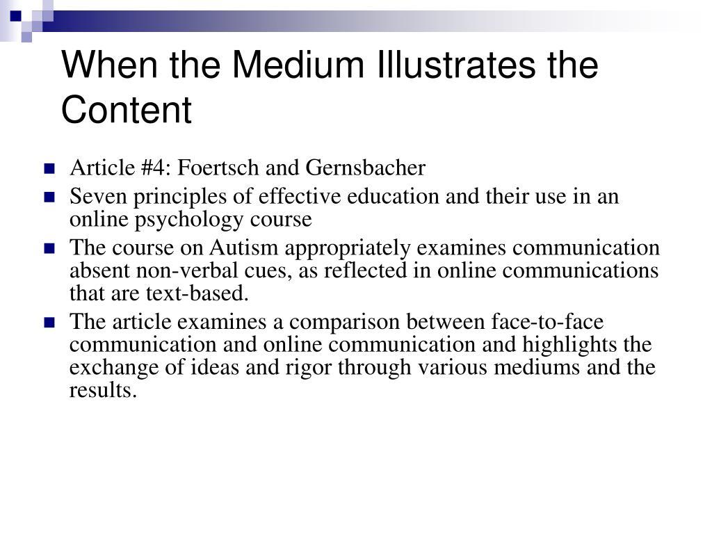When the Medium Illustrates the Content