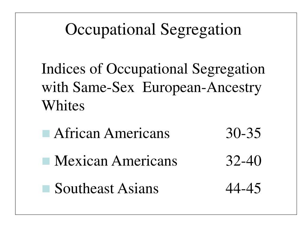 Occupational Segregation