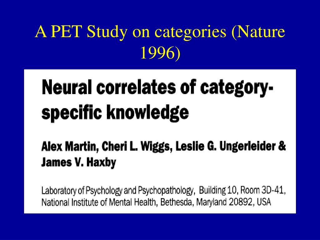 A PET Study on categories (Nature 1996)