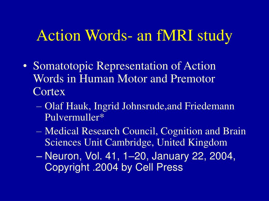 Action Words- an fMRI study