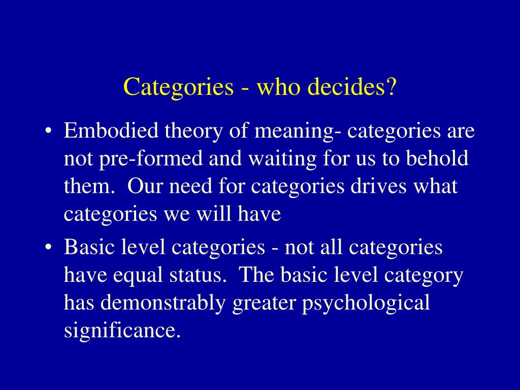 Categories - who decides?
