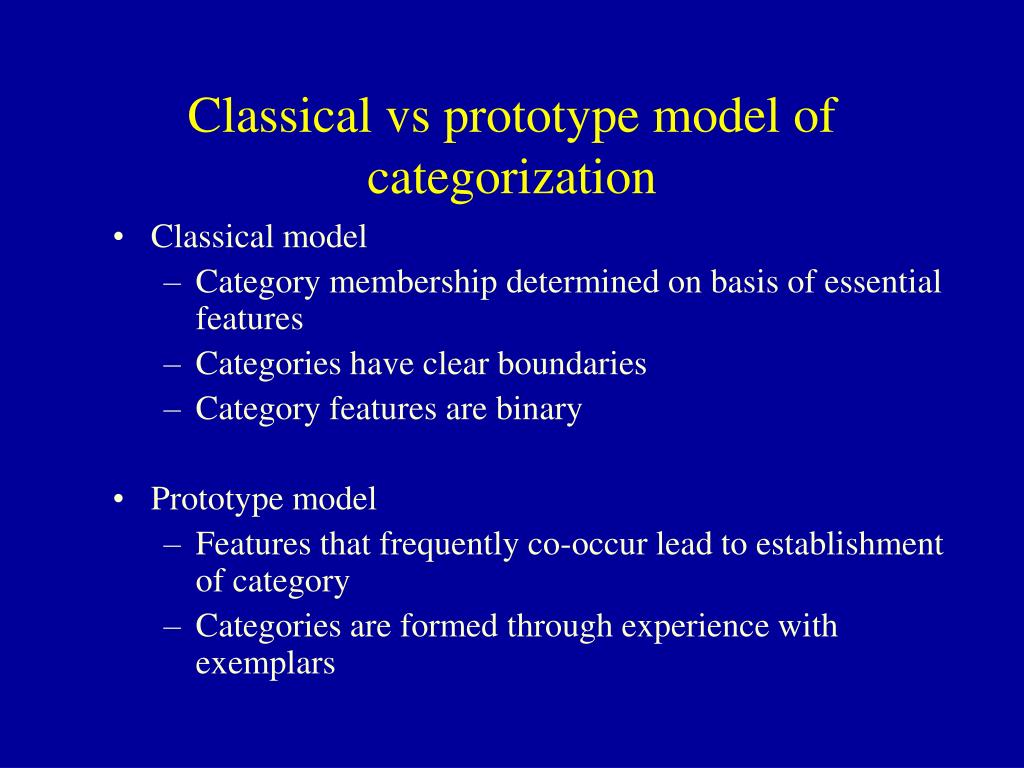Classical vs prototype model of categorization
