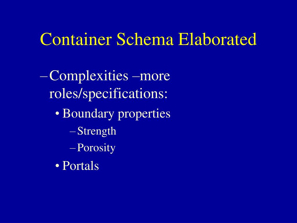 Container Schema Elaborated