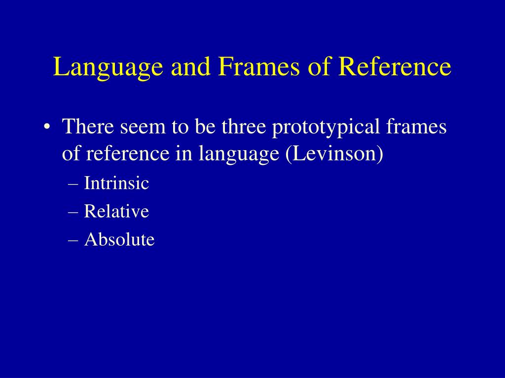 Language and Frames of Reference