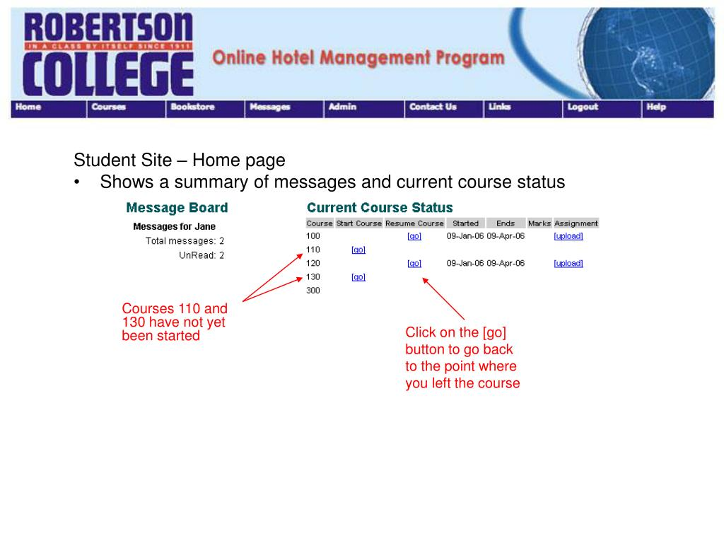 Courses 110 and 130 have not yet been started