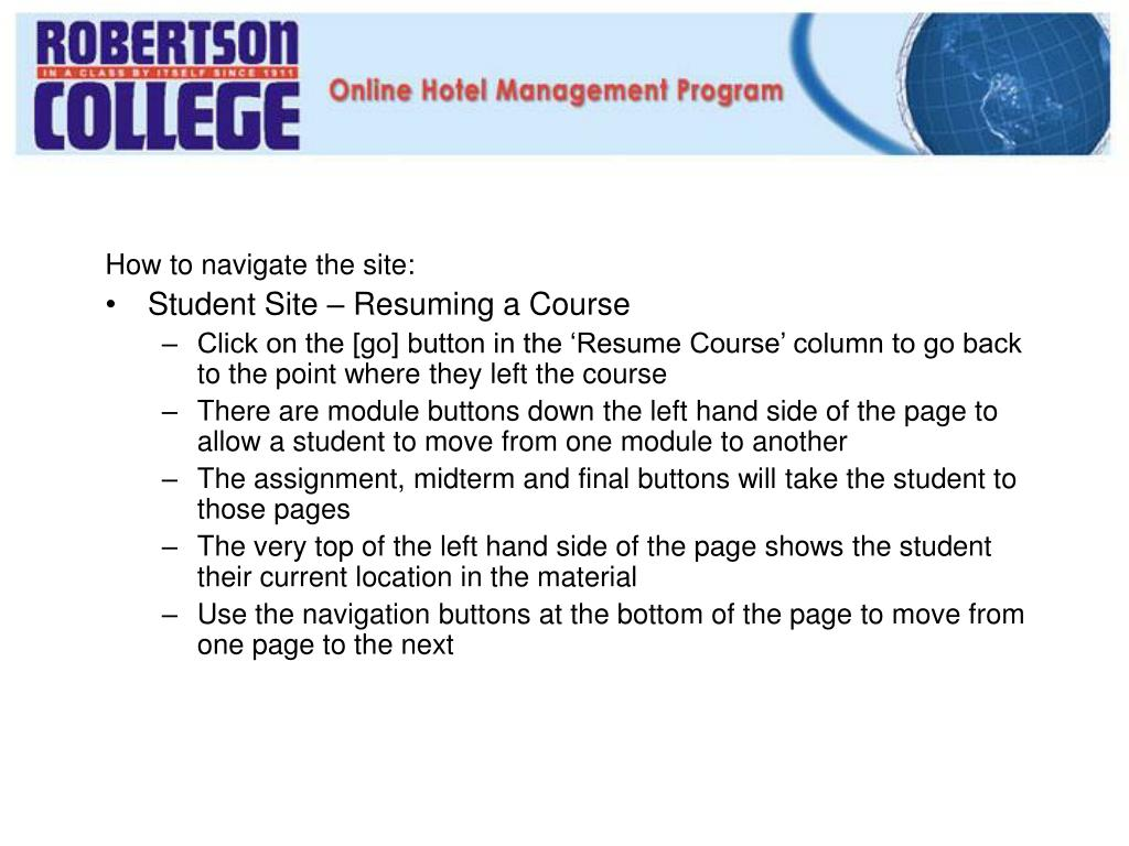 How to navigate the site: