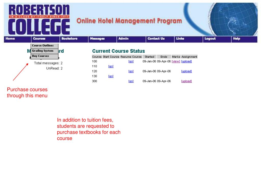 Purchase courses through this menu