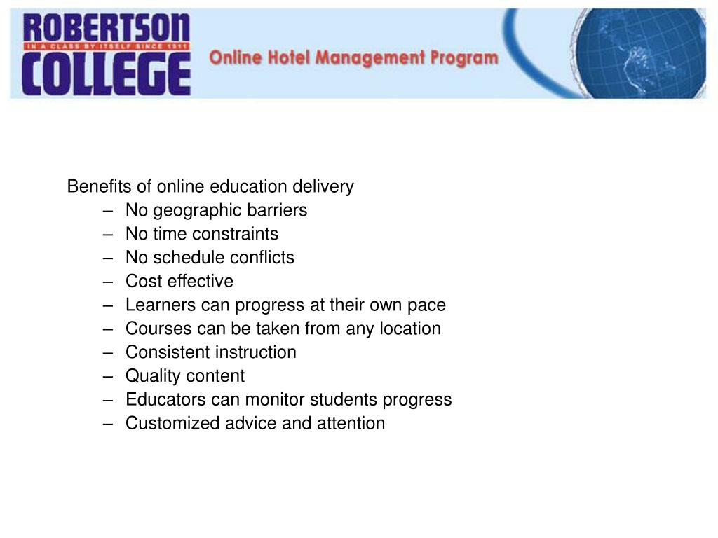 Benefits of online education delivery