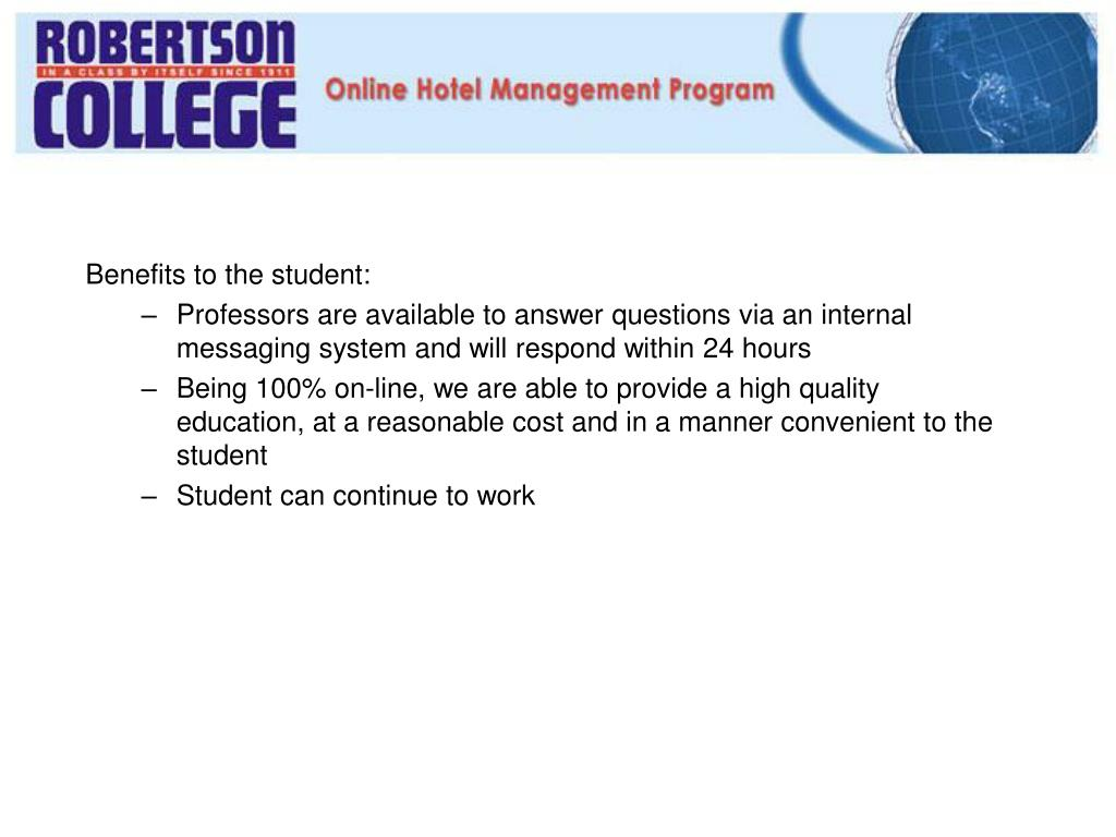 Benefits to the student: