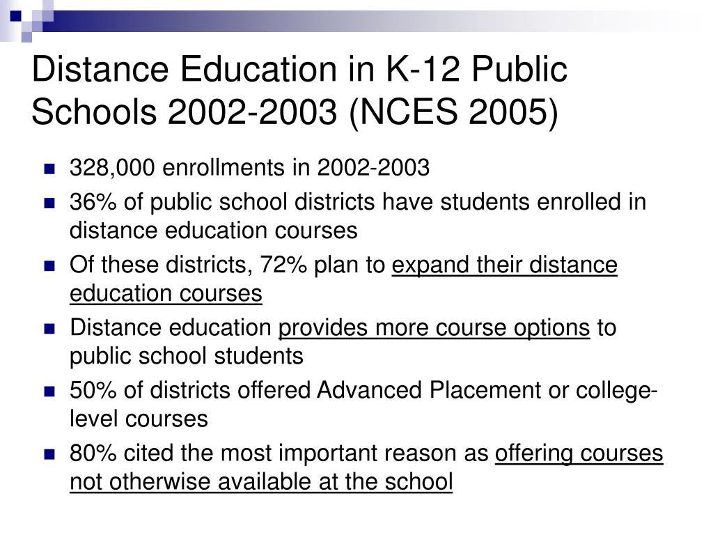 Distance Education in K-12 Public Schools 2002-2003 (NCES 2005)