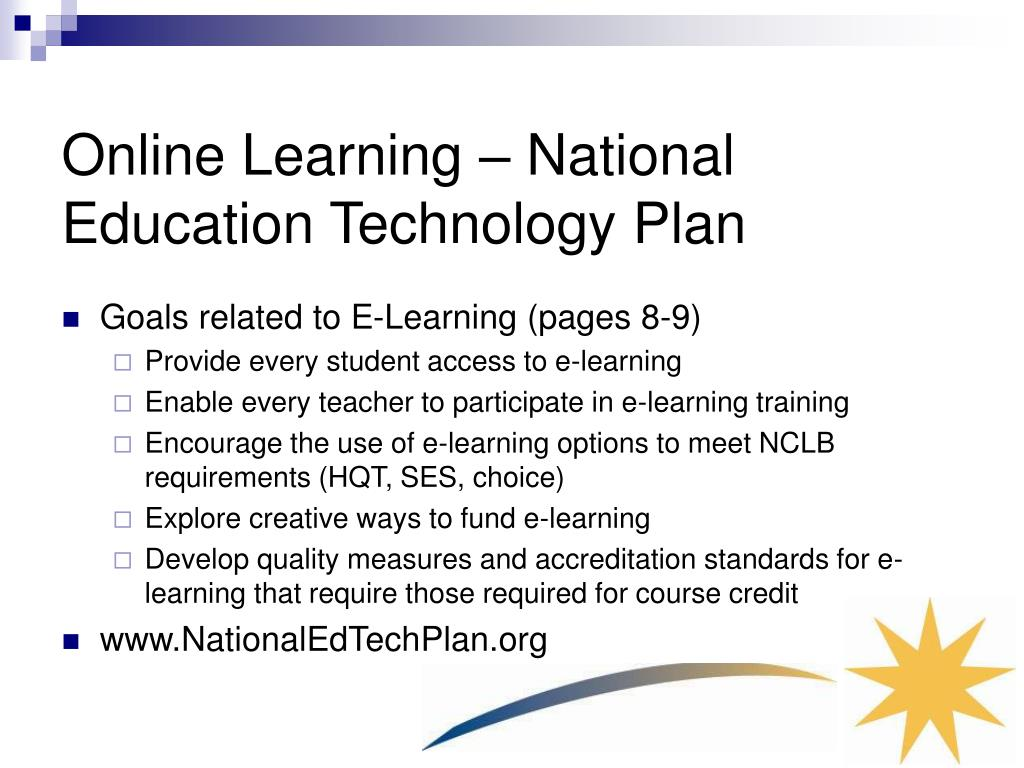 Online Learning – National Education Technology Plan