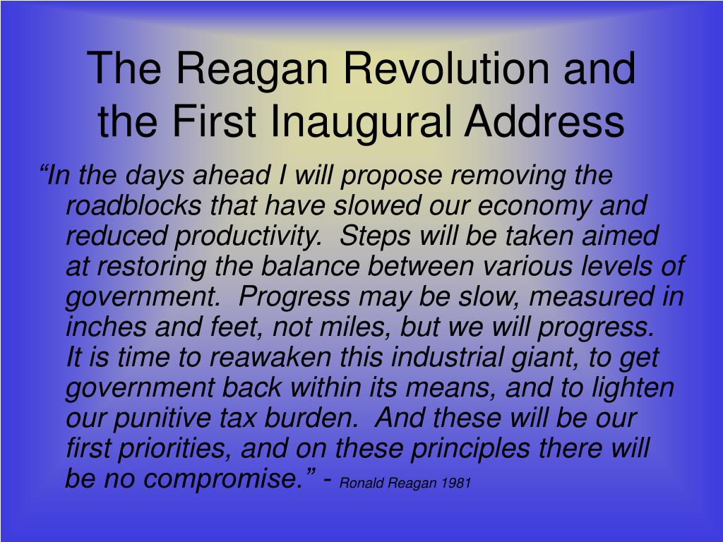 ronald reagan first inaugural address Reagan's inaugural address was 2,452 words long it utilized the vista offered by  the west front,.