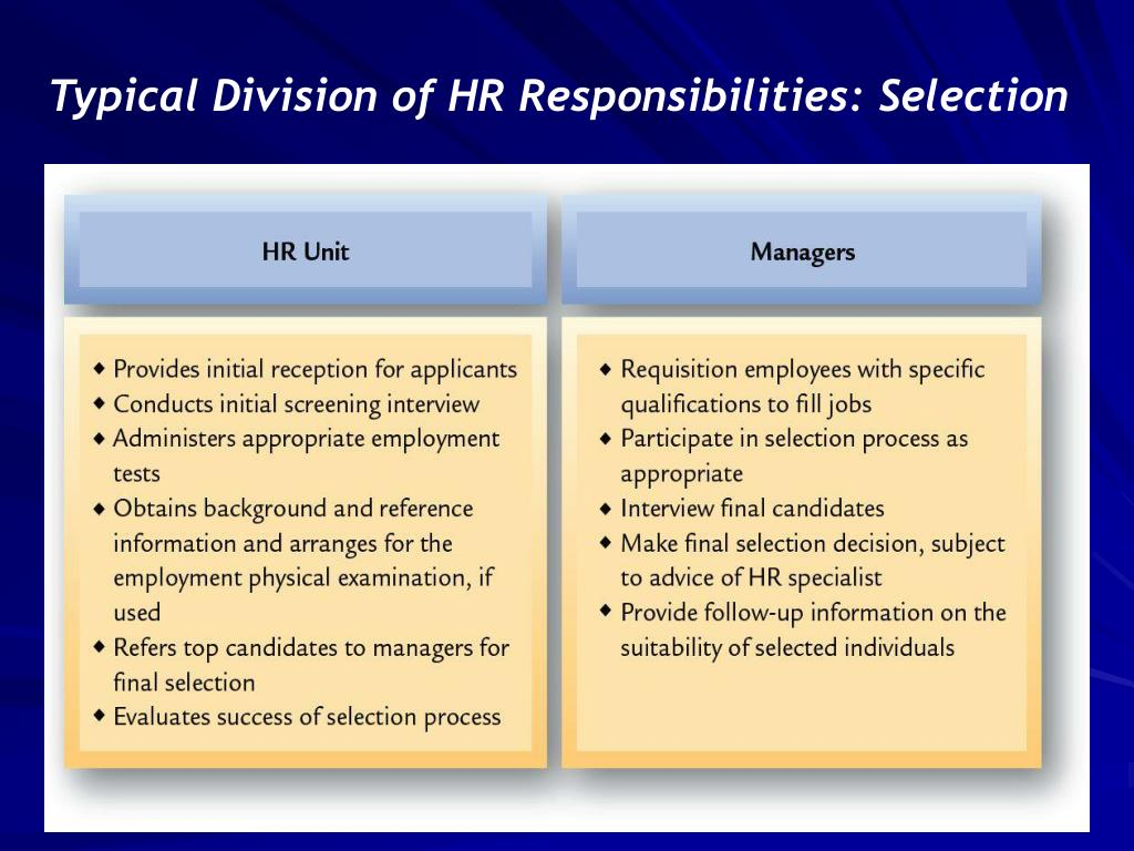Typical Division of HR Responsibilities: Selection
