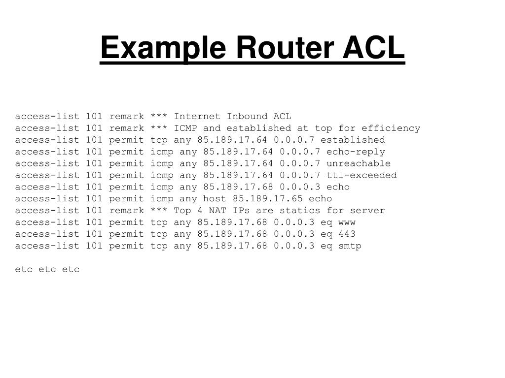 Example Router ACL