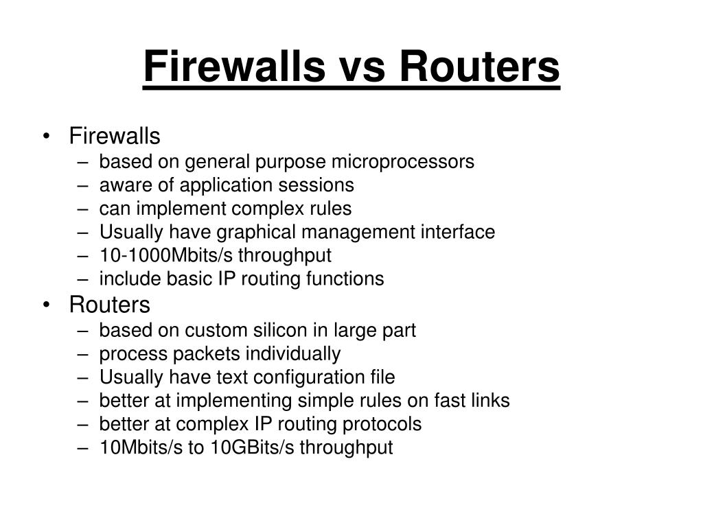 Firewalls vs Routers