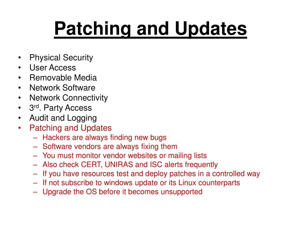 Patching and Updates