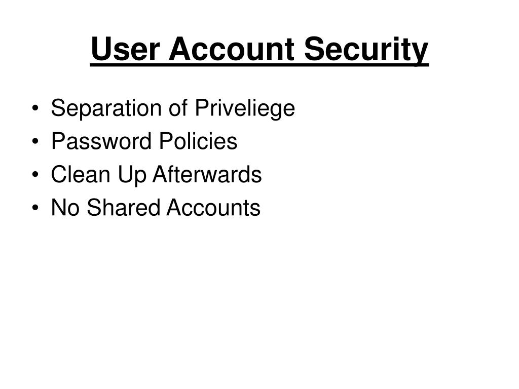 User Account Security