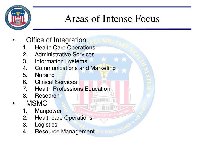 Areas of Intense Focus