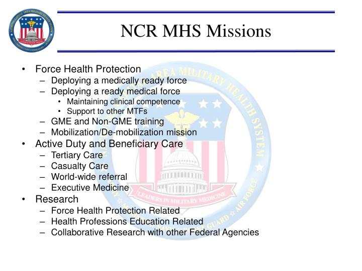 NCR MHS Missions