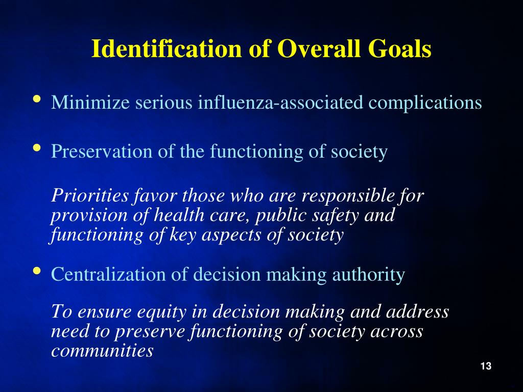 Identification of Overall Goals