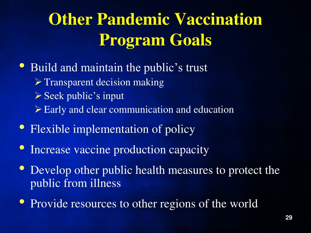 Other Pandemic Vaccination Program Goals