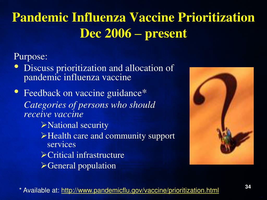 Pandemic Influenza Vaccine Prioritization Dec 2006 – present