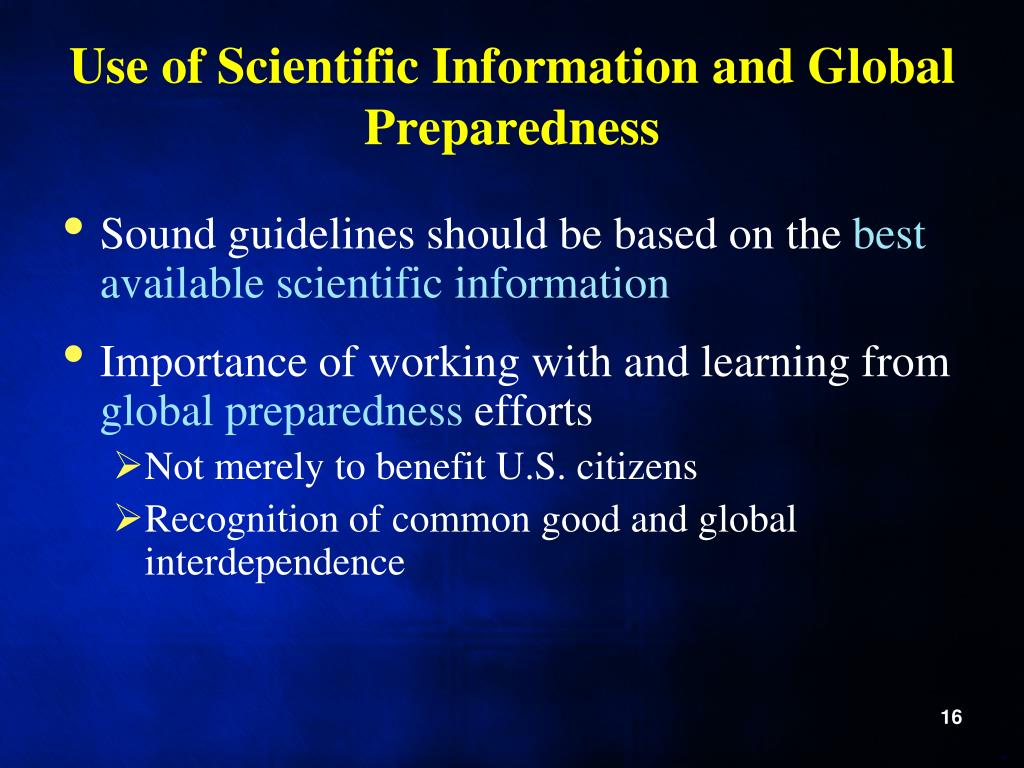 Use of Scientific Information and Global Preparedness