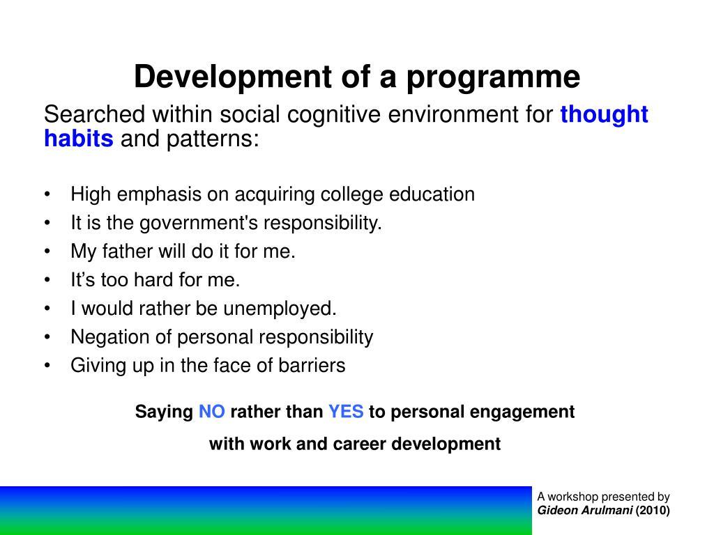 Development of a programme