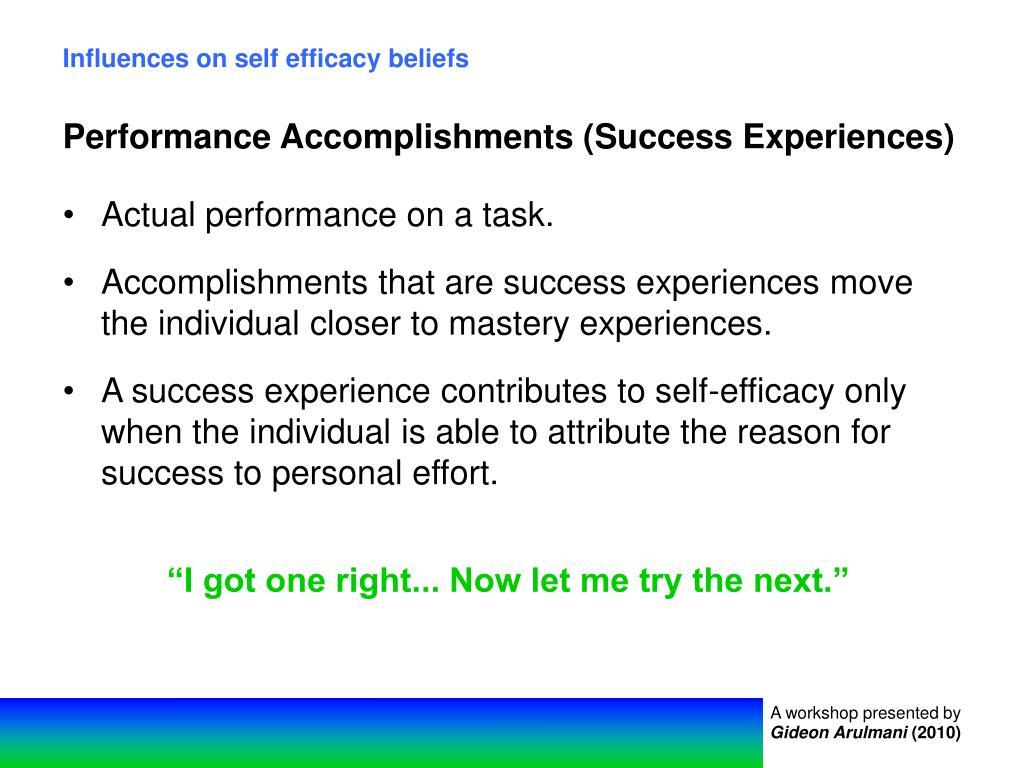 Influences on self efficacy beliefs
