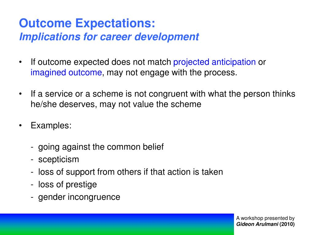 Outcome Expectations: