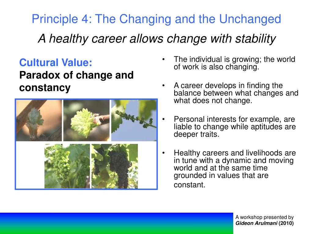 Principle 4: The Changing and the Unchanged