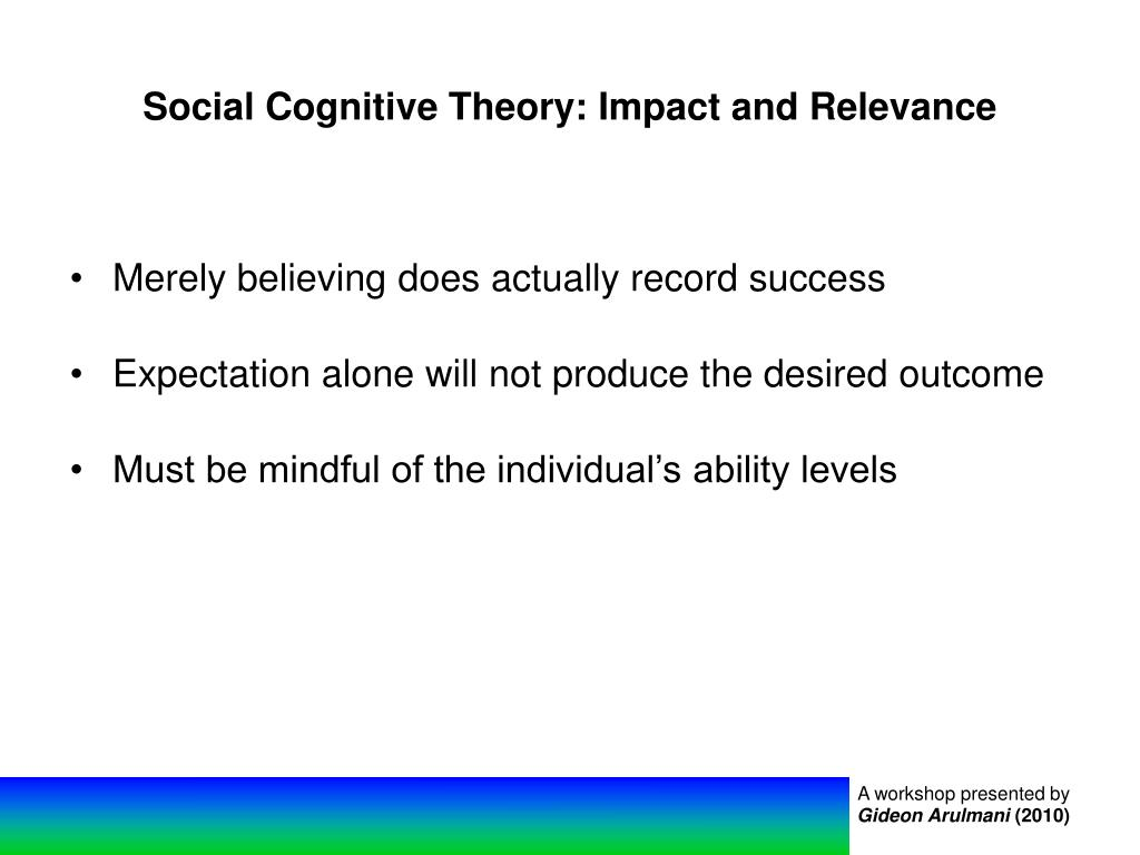 Social Cognitive Theory: Impact and Relevance