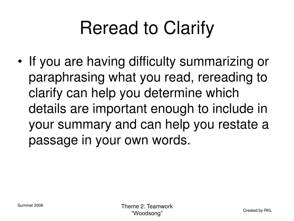 Reread to Clarify