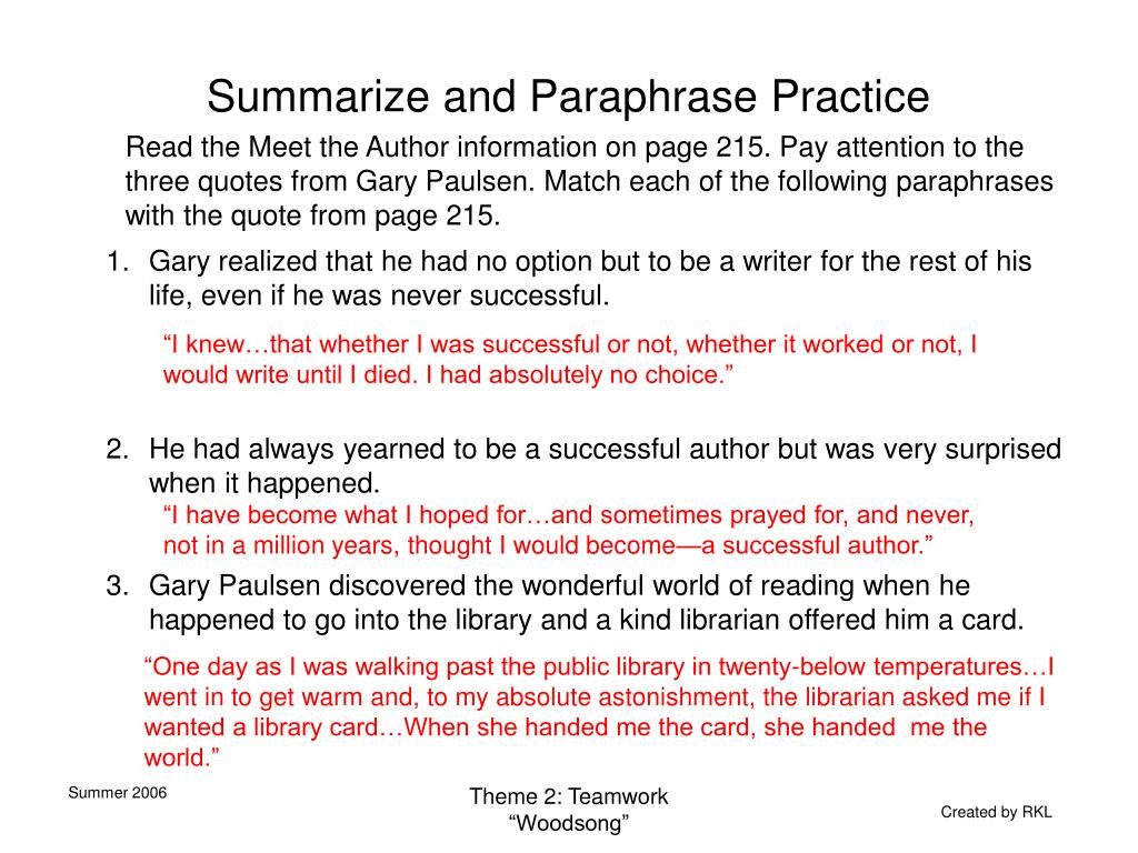 Summarize and Paraphrase Practice
