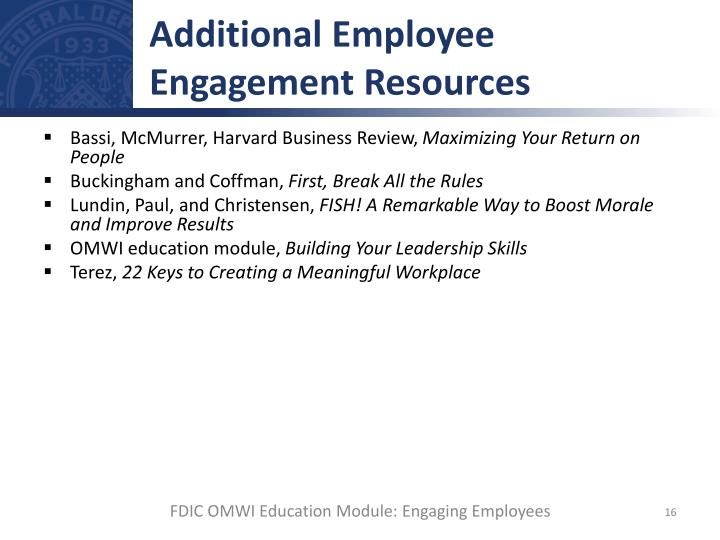 Additional Employee Engagement Resources