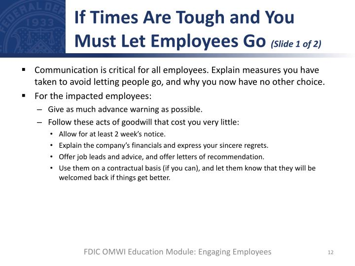 If Times Are Tough and You Must Let Employees Go