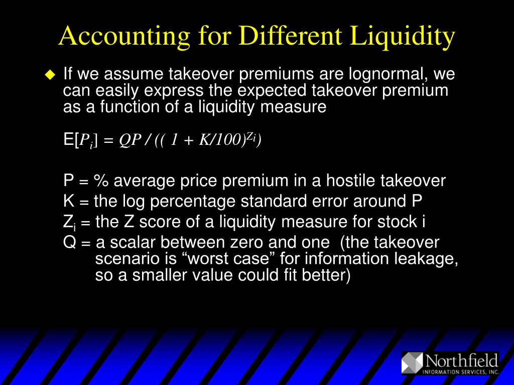 Accounting for Different Liquidity