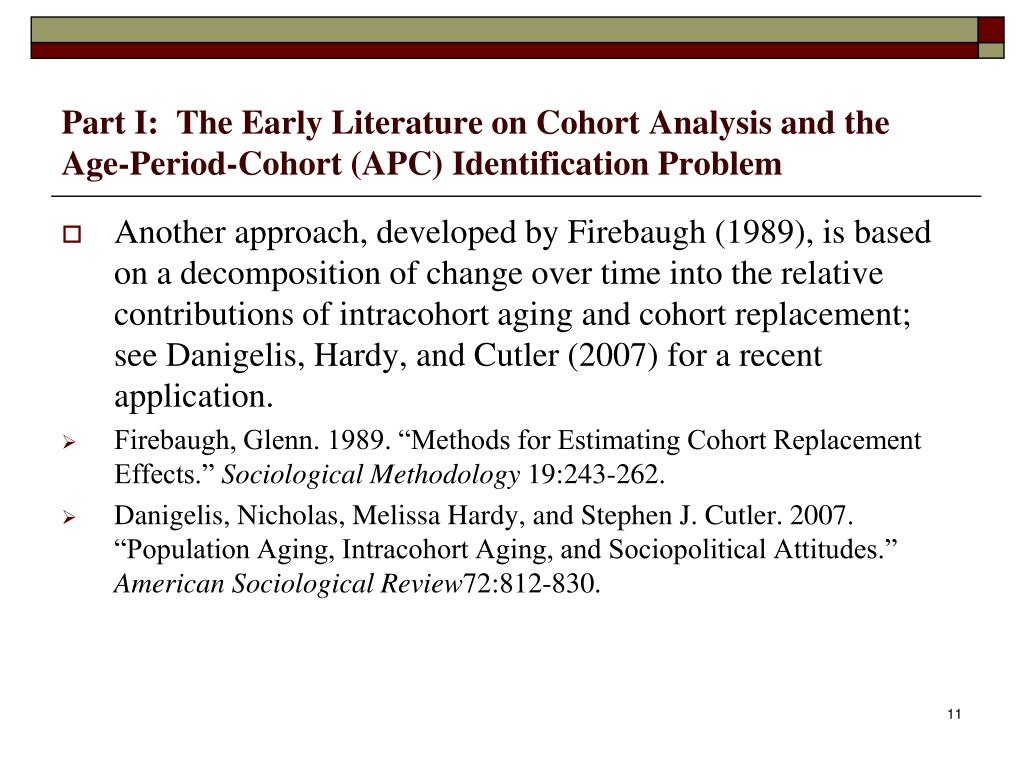 Part I:  The Early Literature on Cohort Analysis and the Age-Period-Cohort (APC) Identification Problem