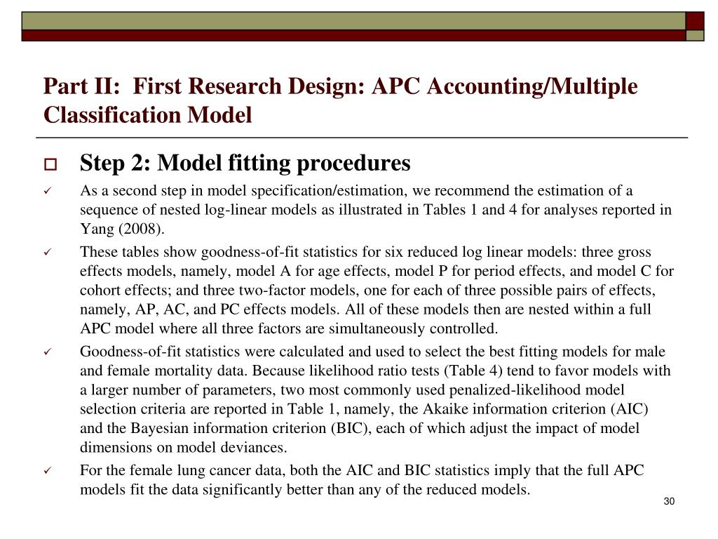 Part II:  First Research Design: APC Accounting/Multiple Classification Model