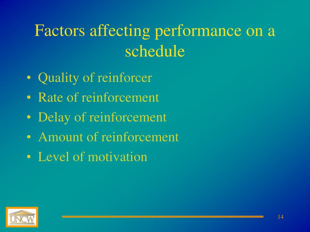 Factors affecting performance on a schedule