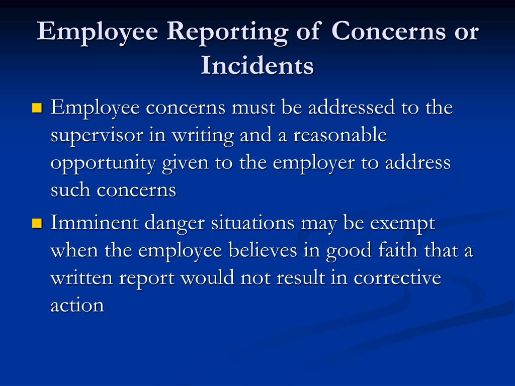 Employee Reporting of Concerns or Incidents