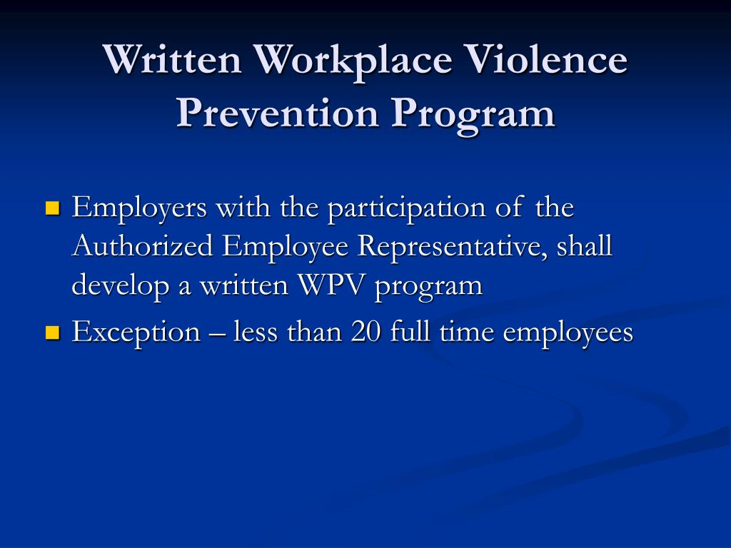 Written Workplace Violence Prevention Program