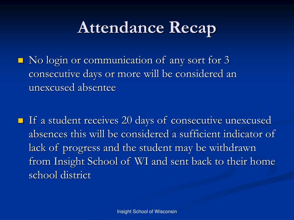 Attendance Recap