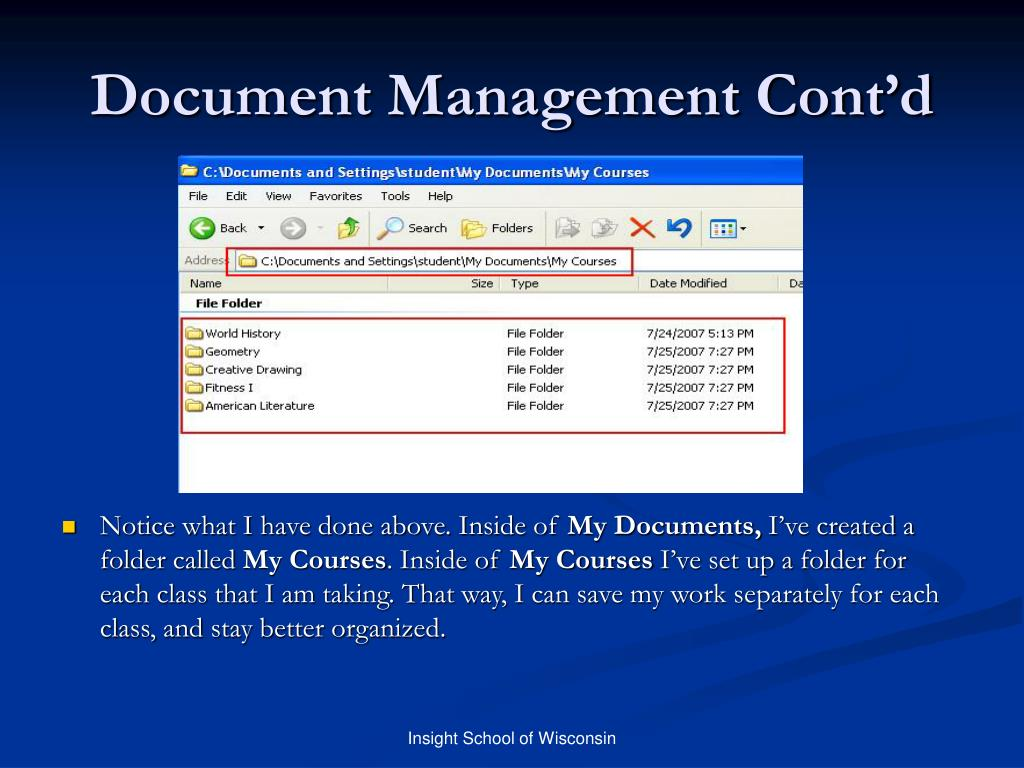 Document Management Cont'd