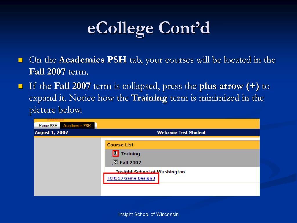 eCollege Cont'd